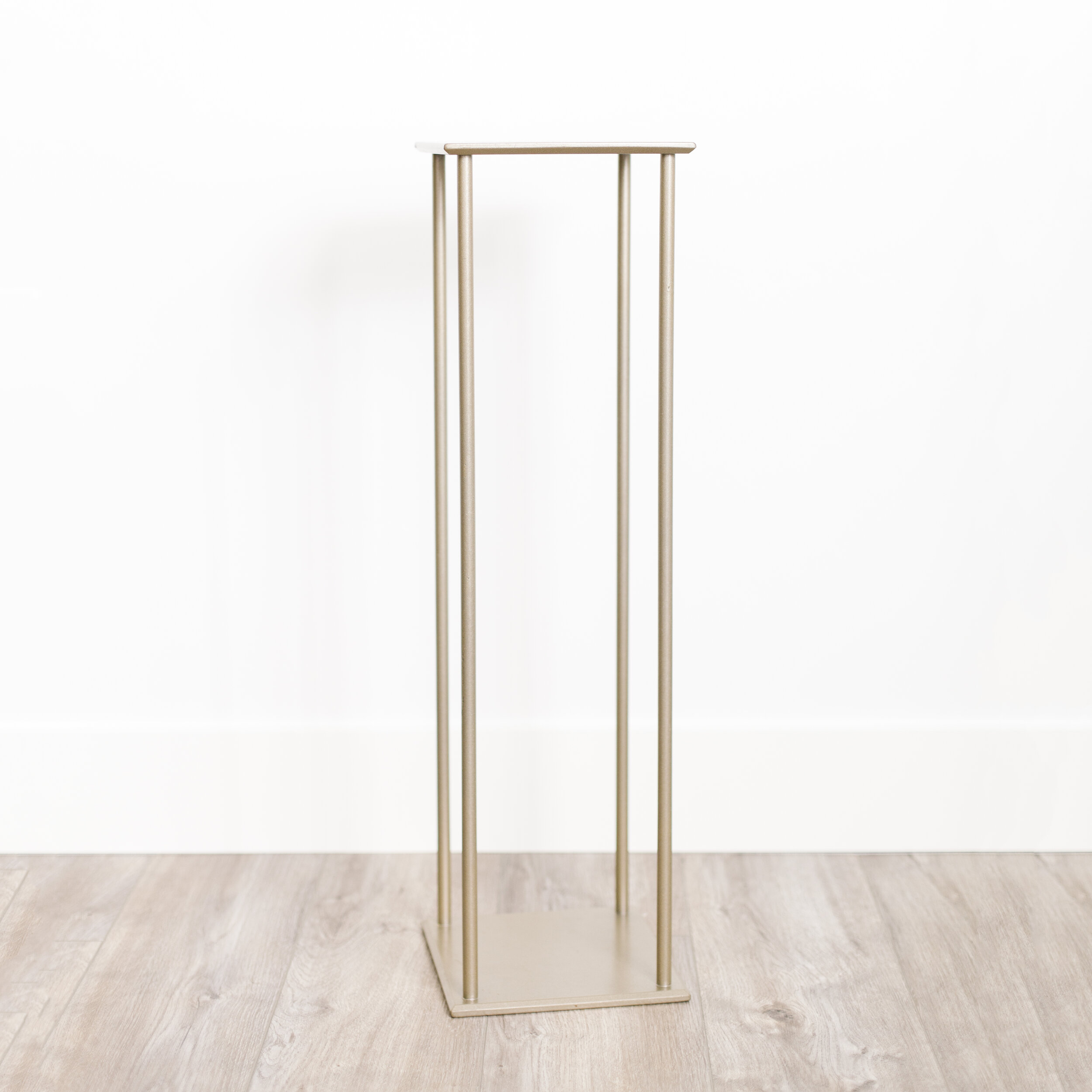 """FLORAL STANDS  $ 15.00 / 6 in stock 28"""" tall, 8"""" wide. Very heavy duty + finished in neutral gold"""