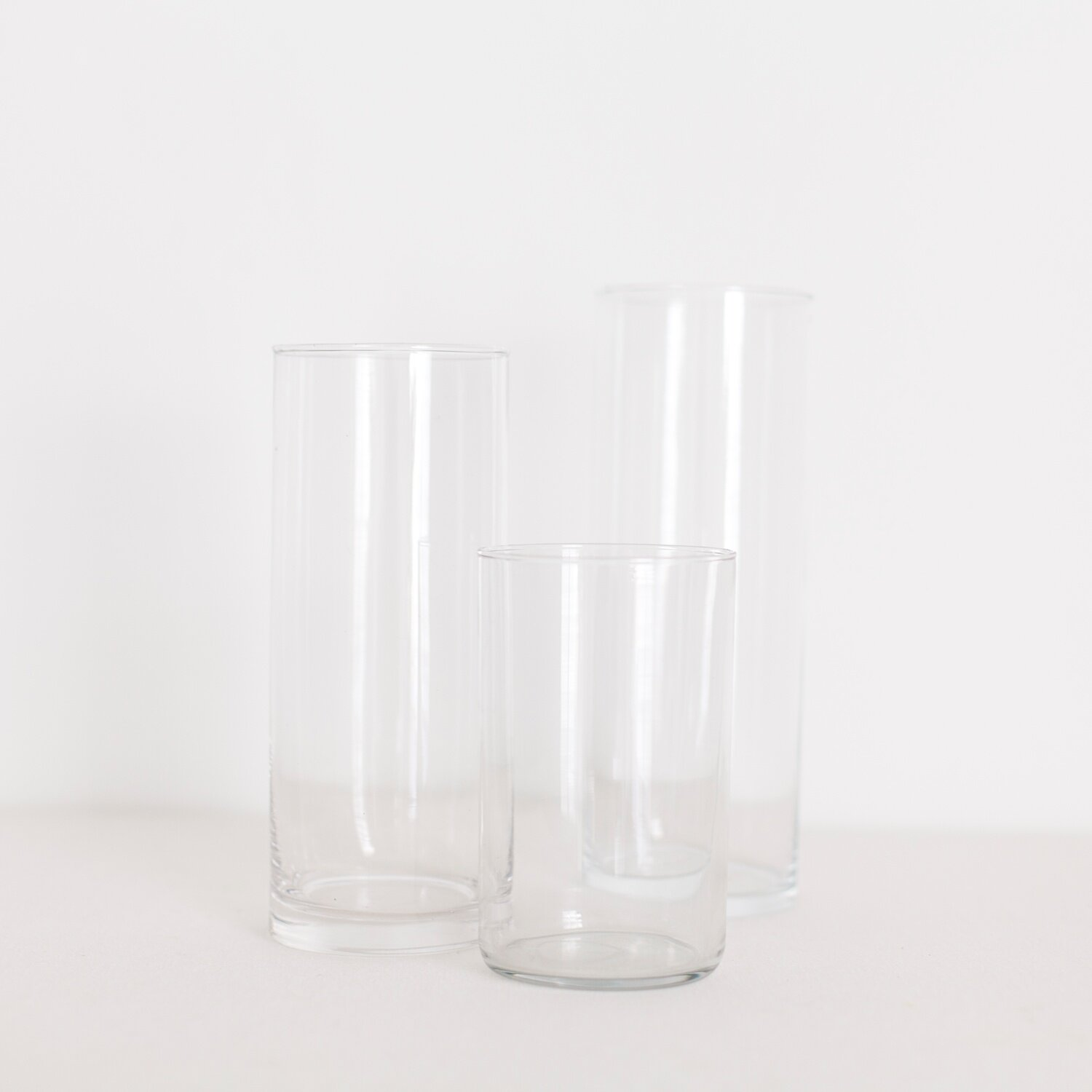 """GLASS CYLINDERS  $ 1.50 / 70 in stock 6"""" - 11"""" tall, 3.5"""" wide"""