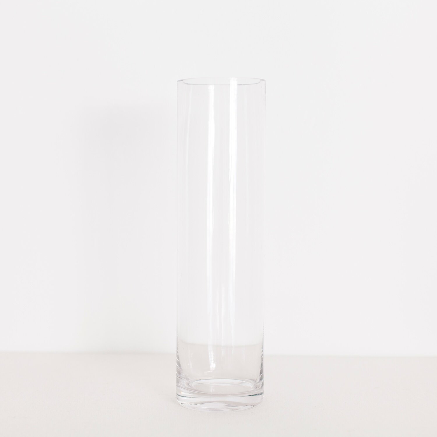 """TALLER GLASS CYLINDER  $ 4.00 / 12 in stock 15.5"""" tall, 4.5"""" wide"""