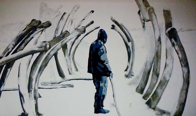 Sleepwalker, acrylic on gallery wall, 10' x 16' feet, 2013