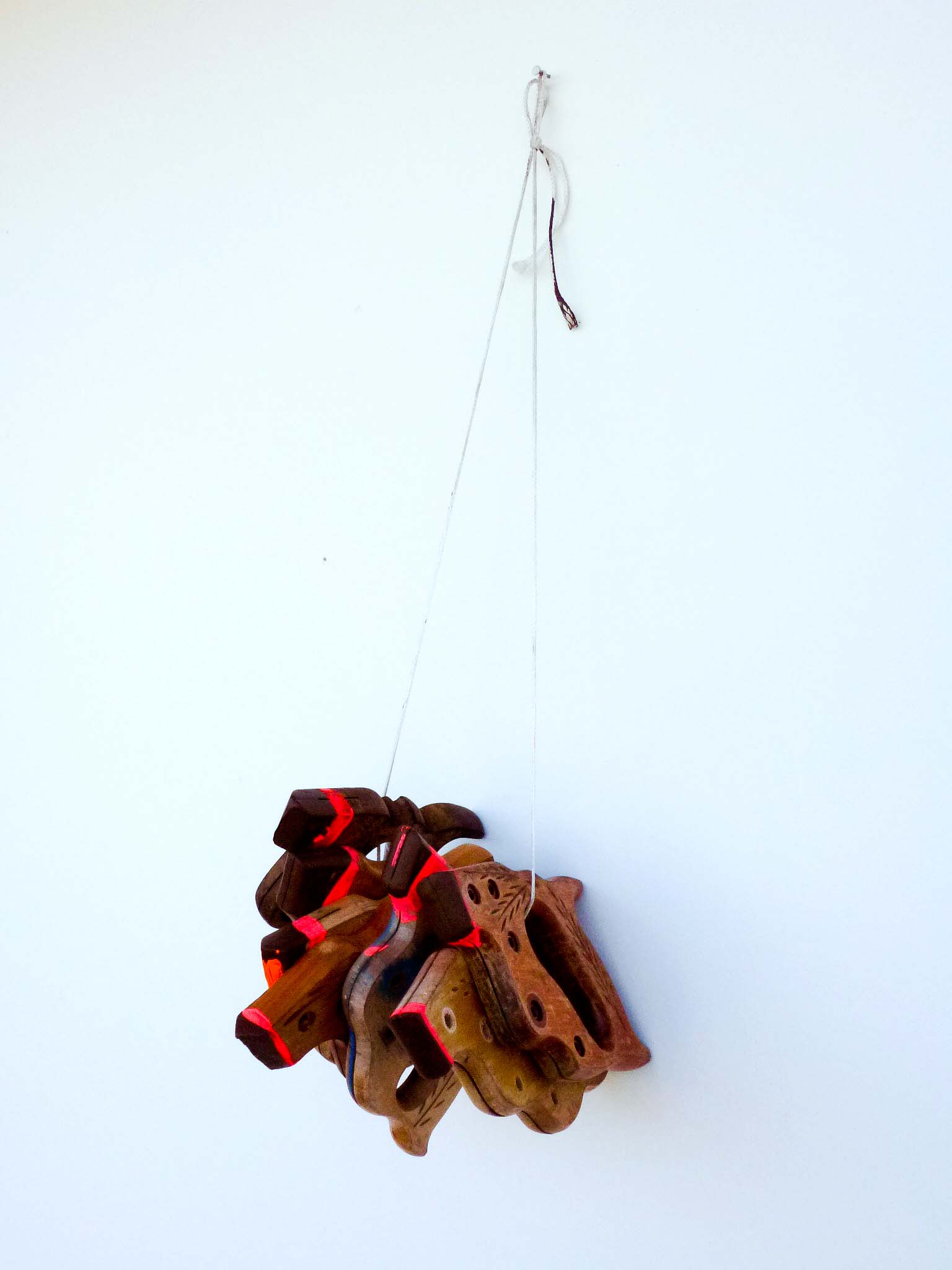 Saw Handles, wood, string, acrylic paint, 24 x 7 x 6 inches, 2013