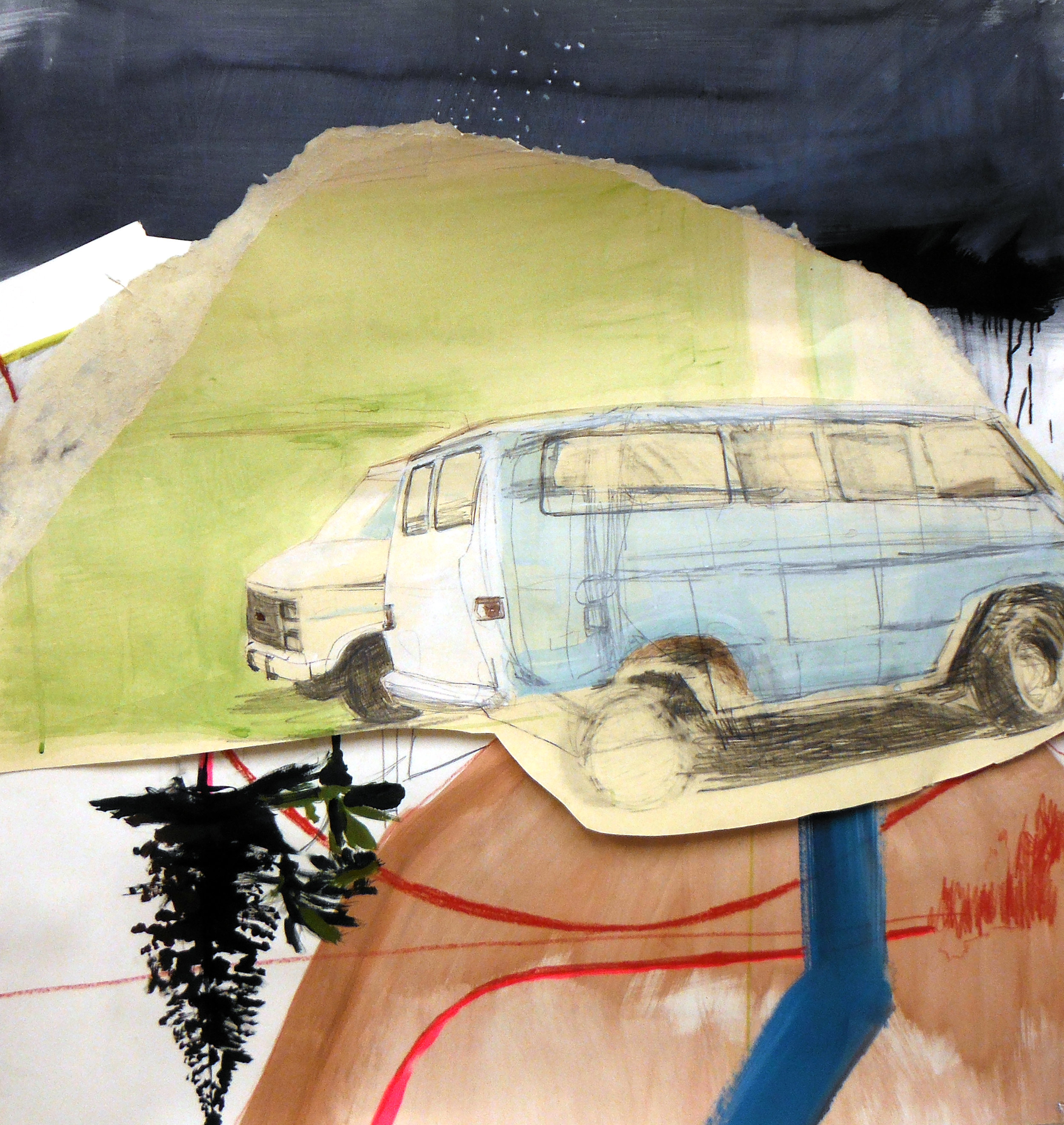 Two Vans, 36 x 32 inches, acrylic and graphite on paper, 2013