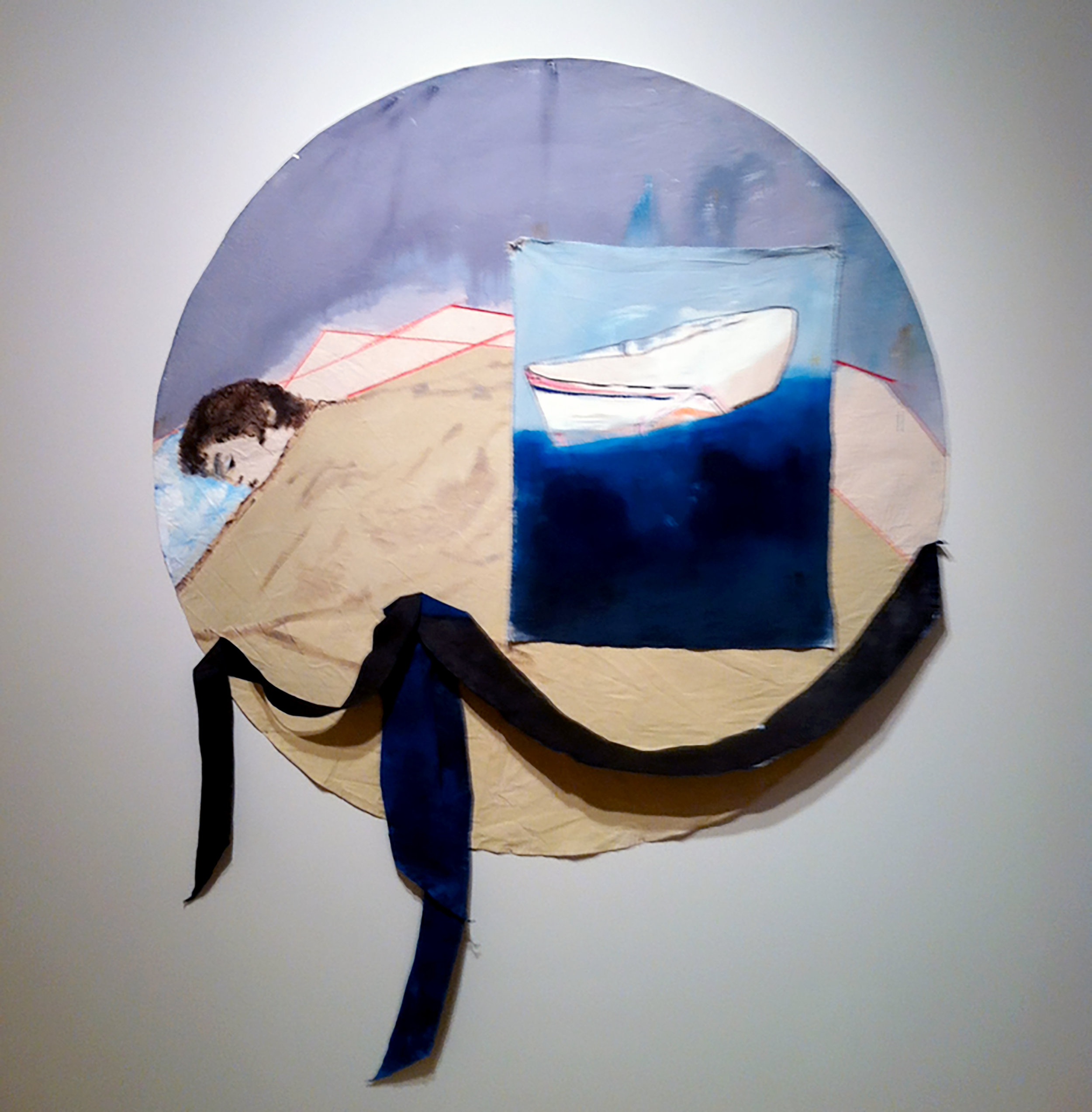 "Jetsam, oil on raw canvas, 72"" diameter, 2014"