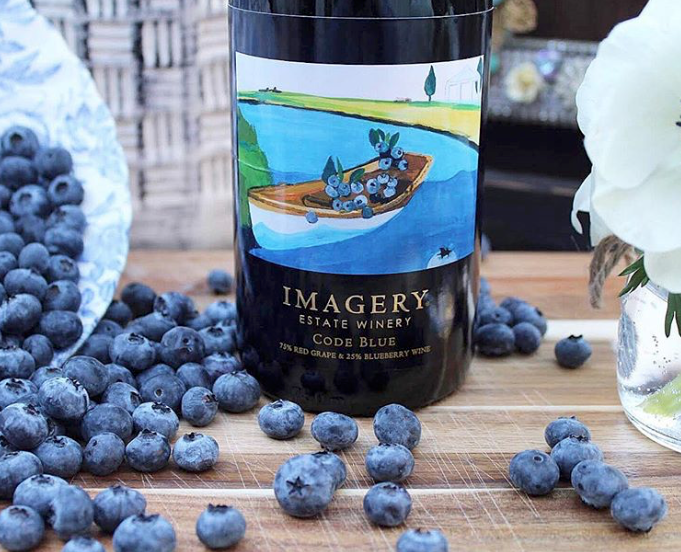Code Blue Wine is 75% Grapes, 25% Blueberries, image Cathy Ellis 2018.