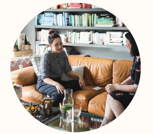 Madeleine Dore with Zoe Foster Blake content producer freelance writer interviewer Melbourne