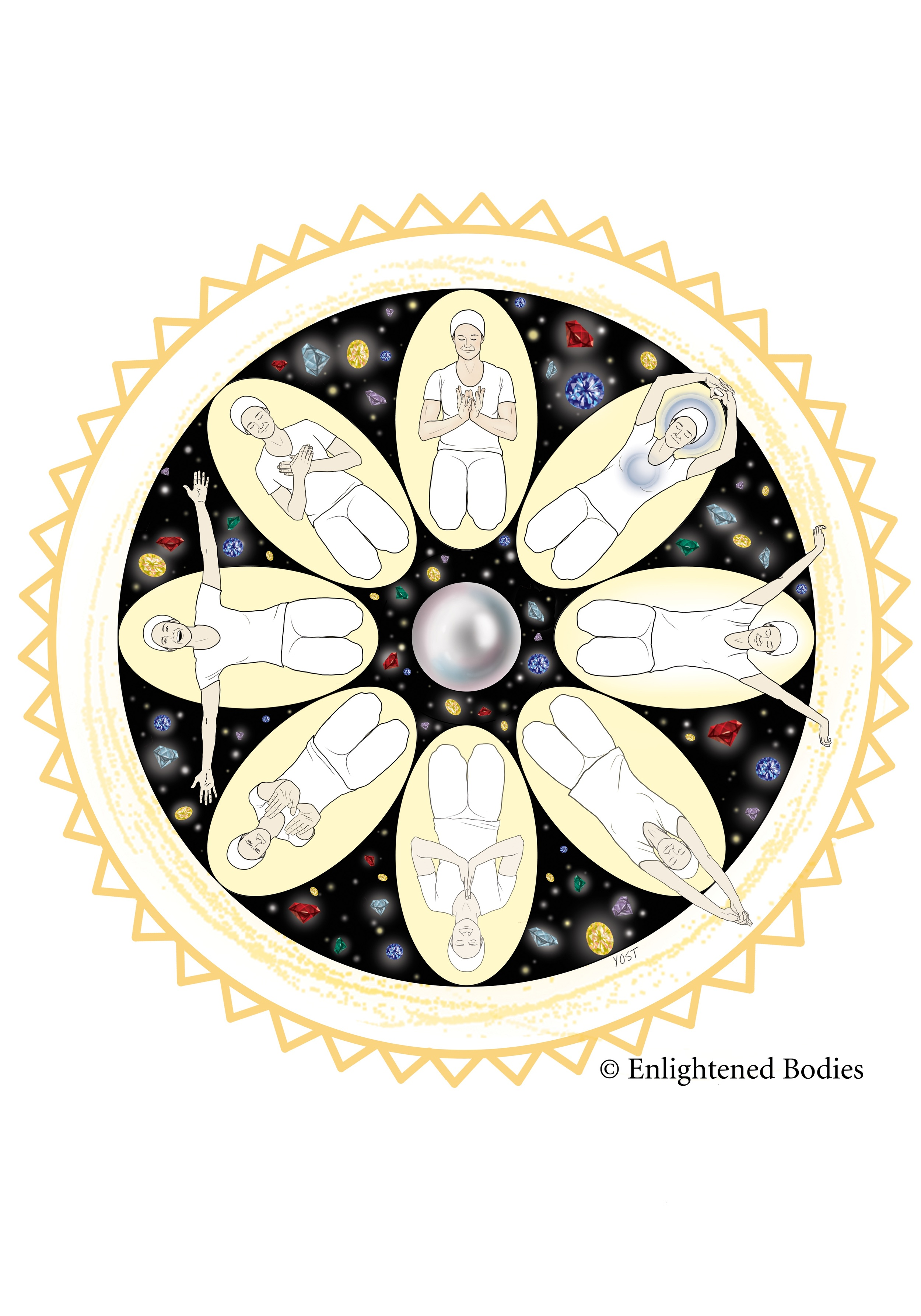 "Our vision for the 10 Light Bodies Mandala is to help yoga teachers and teacher trainers ""see"" the connection of the Light Bodies as a teaching tool. The way that the consciousness transforms through yoga and how the jewels of meditation come to you over time. The pearl in the center represents the ""Soul Body"" and the outer edge of Gold is the ""Radiant Body"". The other Bodies are left open to interpretation through the mudras and movement cycling through the mandala. Enjoy!"