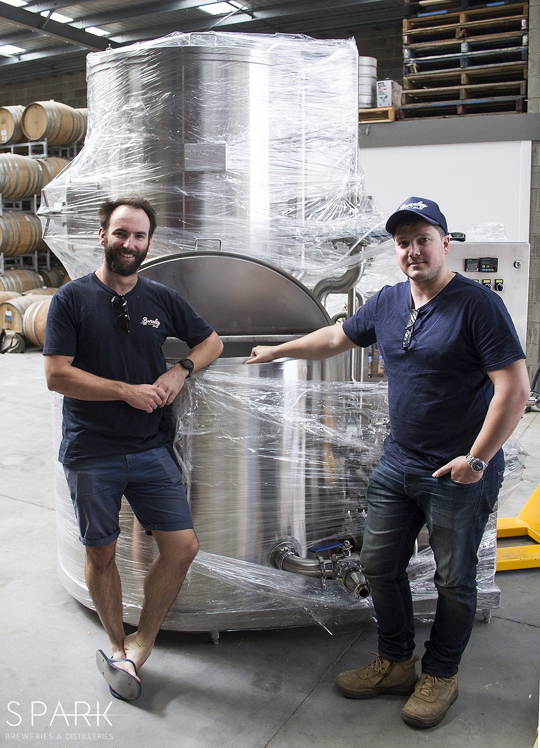 Phil and Neil (L-R) from Burnley brewing in front of their newly delivered SPARK K500 2.0 brewhouse. Looks tiny, but its still too heavy for them to lift.