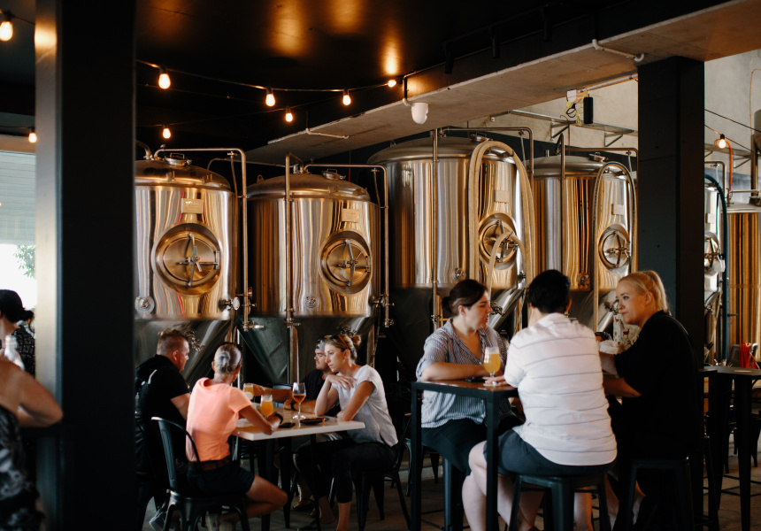 Revel Brewing's cozy tap room in Brisbane is a local attraction.