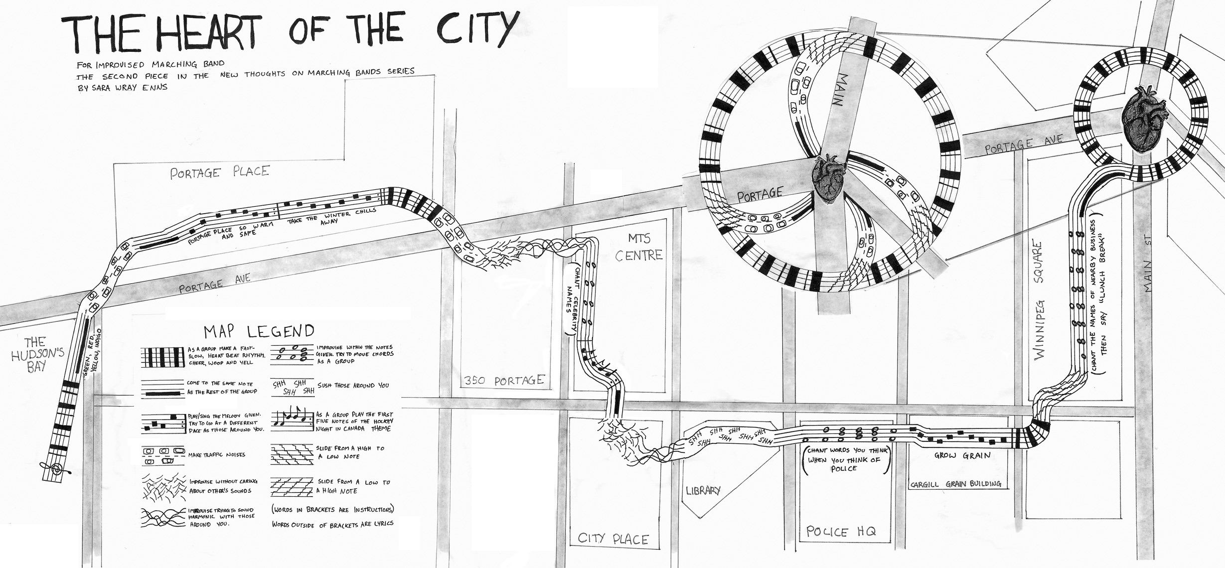 Map and score of the piece composed and created by Sara Wray Enns
