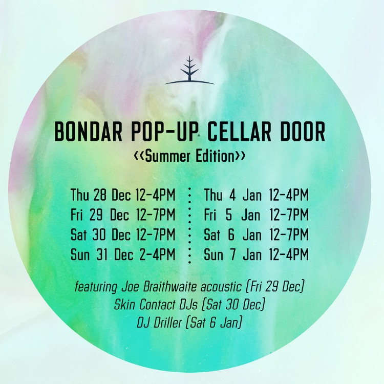 Bondar Summer Pop-Up - Come and visit us! We're creating a little pop-up cellar door in our vineyard shed for the summer. Opening over two weekends, from Thursday 28 December - Sunday 31 December, and Thursday 4 January 2018 -Sunday 7 January.Bondar wines will be flowing by the glass and bottle and our mates at Snap Crackle catering will be putting together some delicious tapas and local platters.On Friday 29 December Joe Braithwaite will be playing acoustic tunes, on Saturday 30 December Skin Contact DJ's will be spinning hits, and on Saturday 6 January DJ Driller will be hitting the decks.Hope to see you - Sel and Dre X