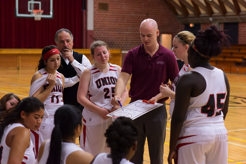 Pictured, Lady Warriors during a time-out last year. | PC: Marketing Communications