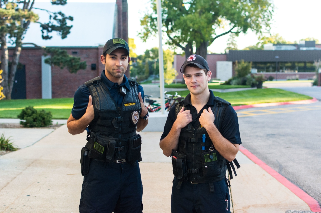 Security guards Anthony Gann and Wyatt Johnson embracing the new walking policy for security.   PC: Zach Morrison