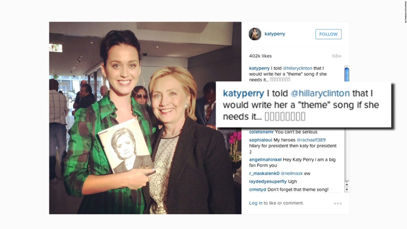 Celebrities like Katy Perry are publicly endorsing candidates more than before.   PC: CNN.com