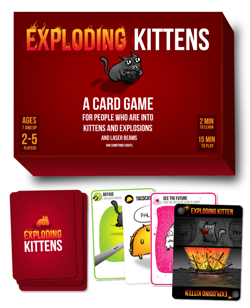 Exploding kittens is the most-backed project on Kickstarter, with 219,000 backers. | PC: explodingkittens.com