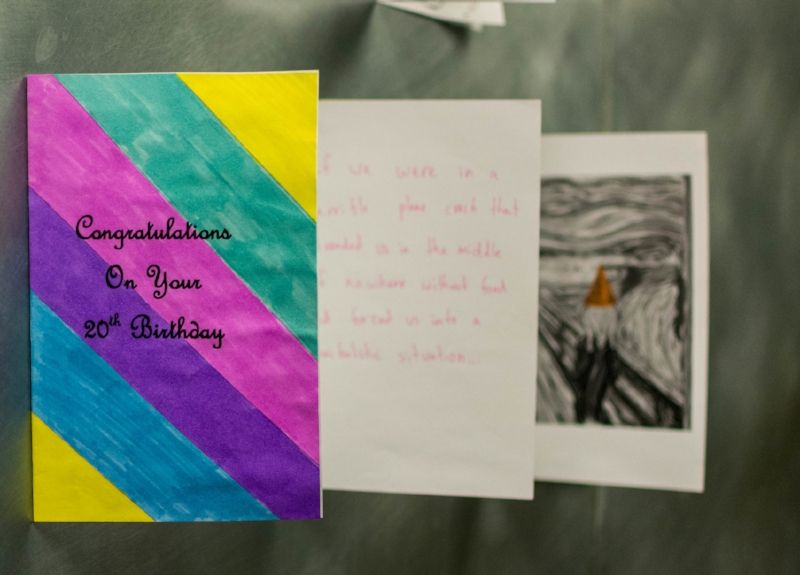 Hand-making greeting cards to sell for charity, Union students channeled creativity for the greater good.   PC: Zach Morrison