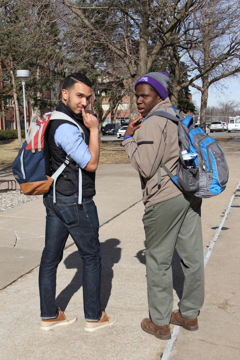 Pictured left, Ryan Milsap, right J-Fiah Reeves, owning their winter fashion.   PC: Sharon Curran