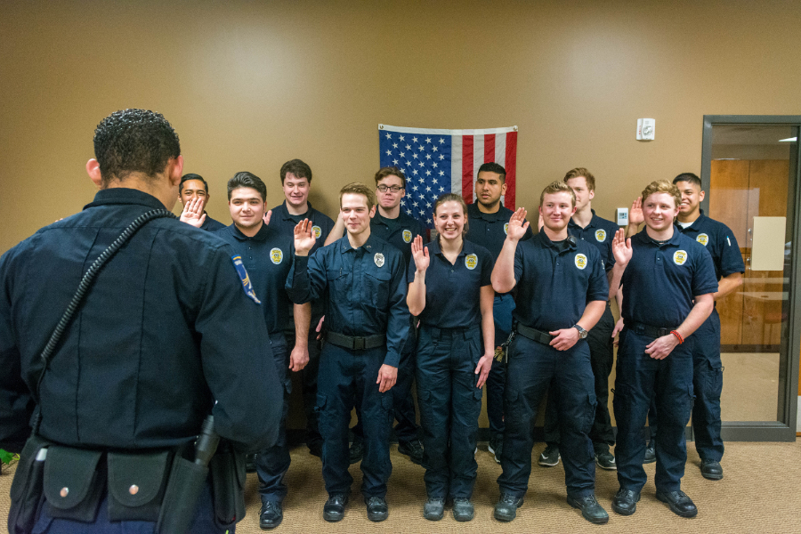 Union's revamped security squad tries not to smile as they are sworn in. | PC: Zach Morrison