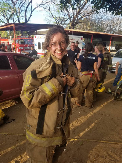 As part of the Nicaragua experience students assisted as firefighters. They got a little dirty. | PC: Meredith Nichols