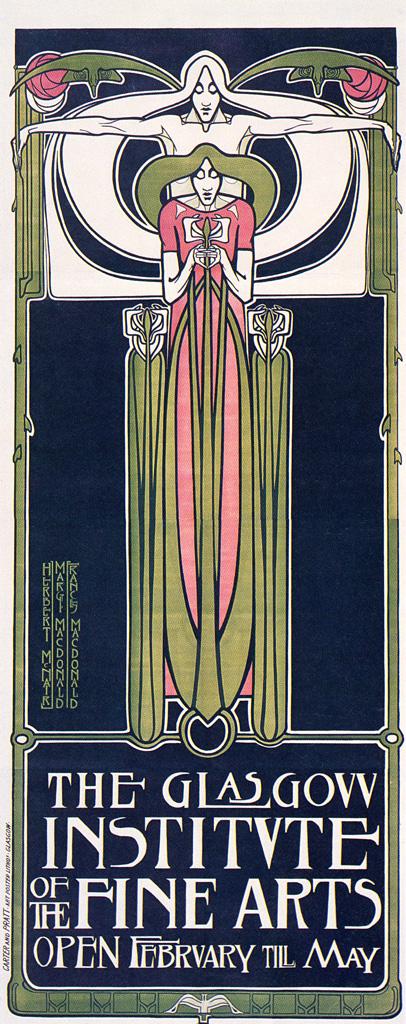 Glasgow School of Art Poster by Frances Macdonald, Margaret Macdonald, J. Herbert McNair (1885)   PC: MCAD Library