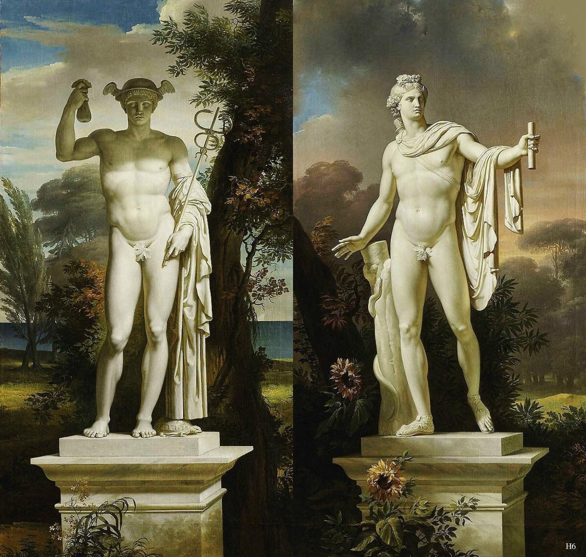 Charles Meynier, Statue of Mercury in a Landscape & Apollo Belvedere in a landscape. | PC: Wikimedia