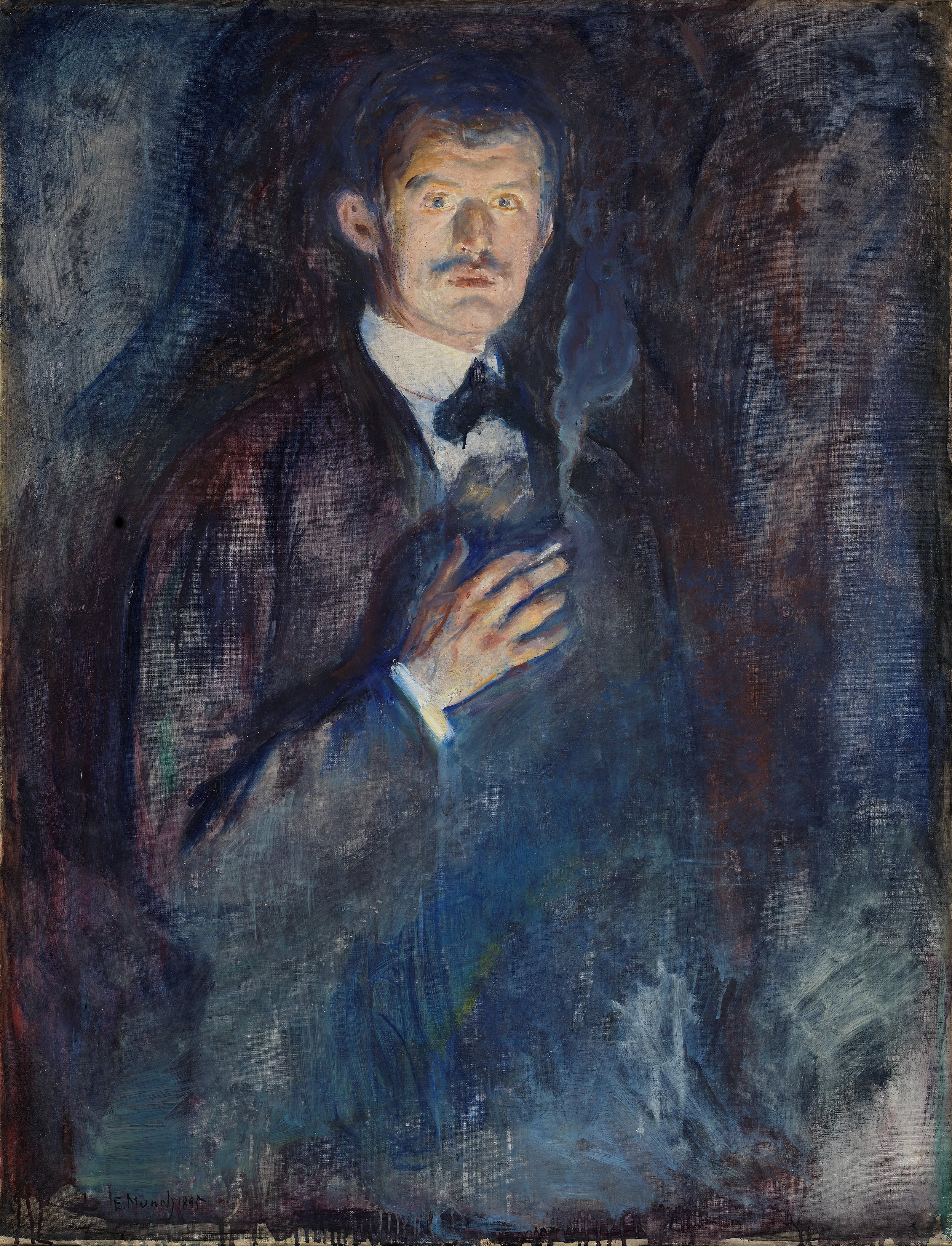 Edvard Munch, Self-Portrait with Cigarette, 1895, oil on canvas, The National Gallery of Norway. | PC: Wikimedia Commons