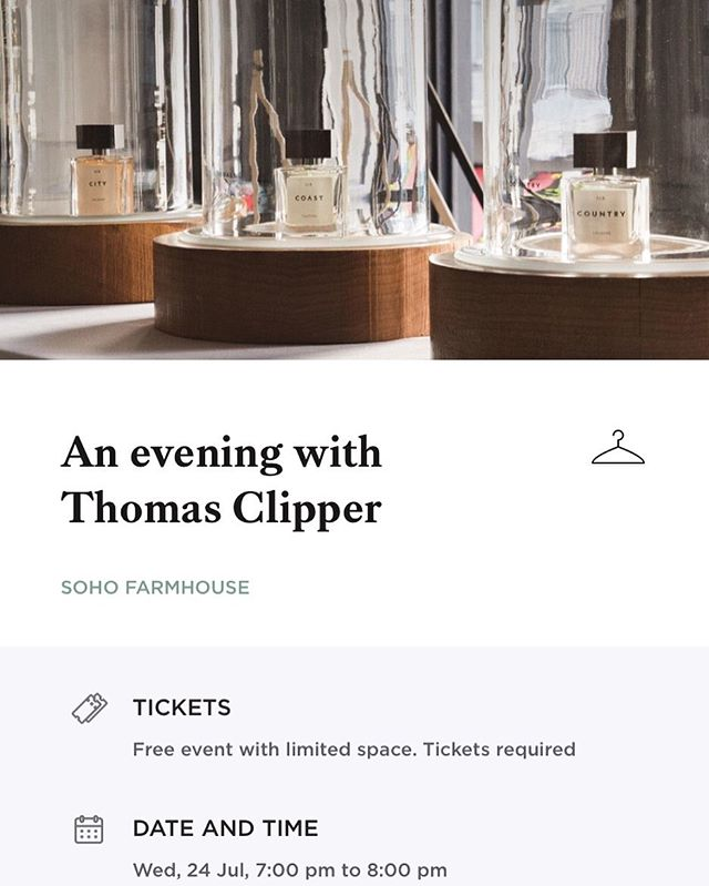 Excited about this special event next week @sohofarmhouse with the brilliant @thiagodalcin !  #thomasclipper #sohofarmhouse #sohohouse #community #nichefragrance #nicheperfumes #leathercraftsmanship #madeinbritain #kickstarter #crowdfunding #communitydriven