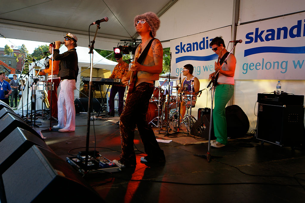 The Urban Playboys live on stage at a Festival in Geelong