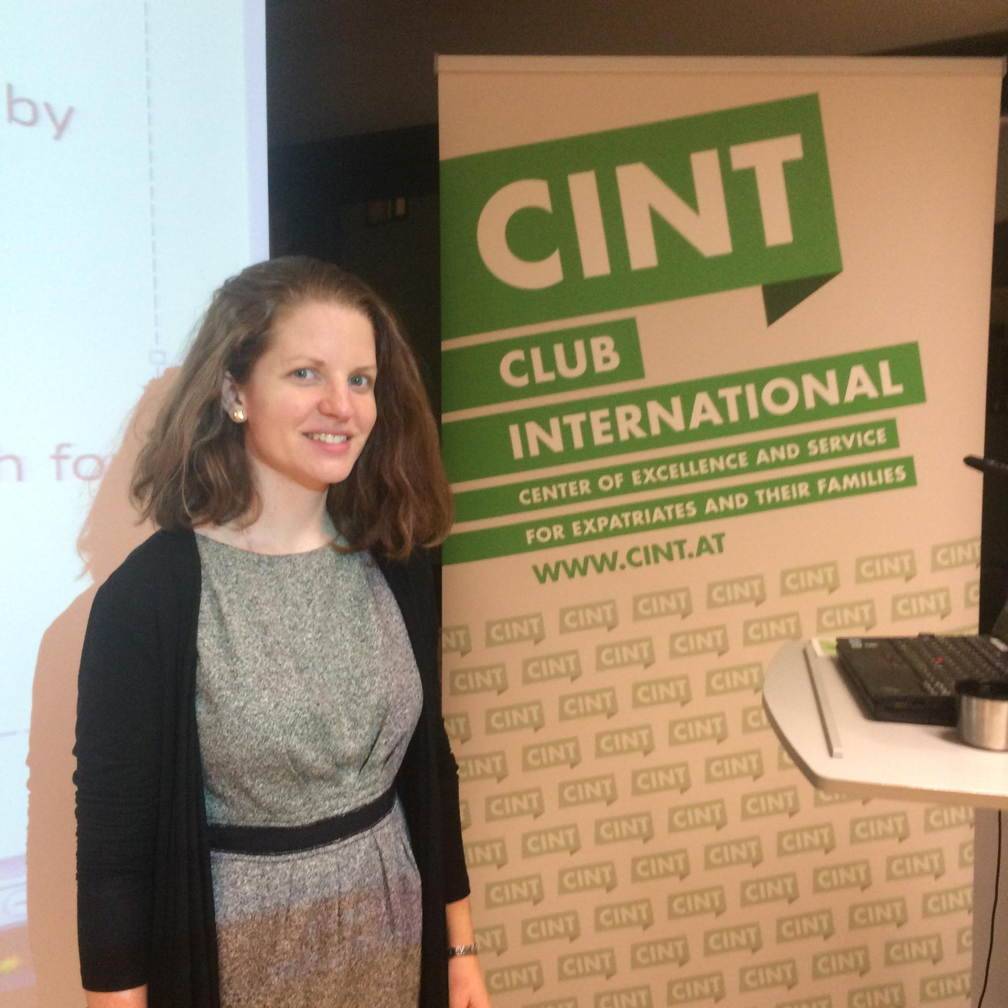 Caitlin Ahern speaking at CINT's information evening on childcare and primary school in Graz.  Photo courtesy of Club International.
