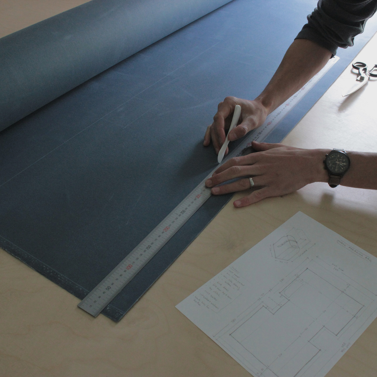pattern marked out - its going to be our deep teal colour. Onto cutting...