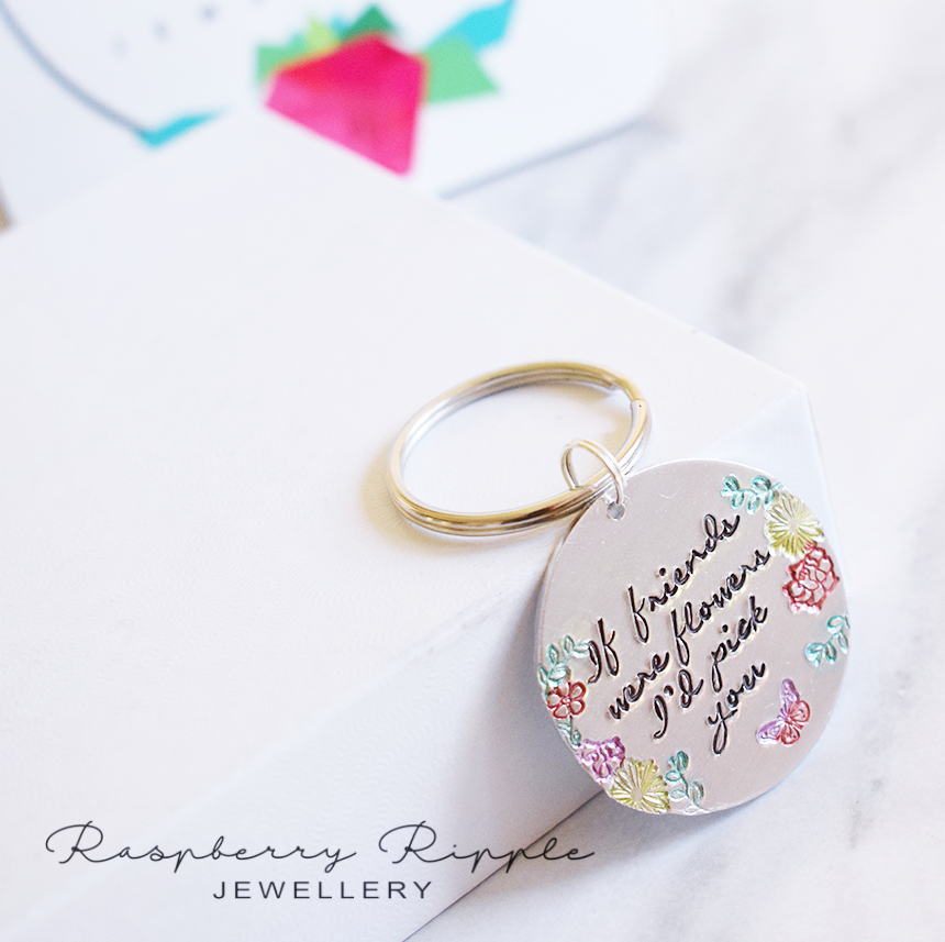 IF FRIENDS WERE FLOWERS ID PICK YOU, HANDSTAMPED KEYRING BEST FRIENDS RASPBERRY RIPPLE JEWELLERY 1.png