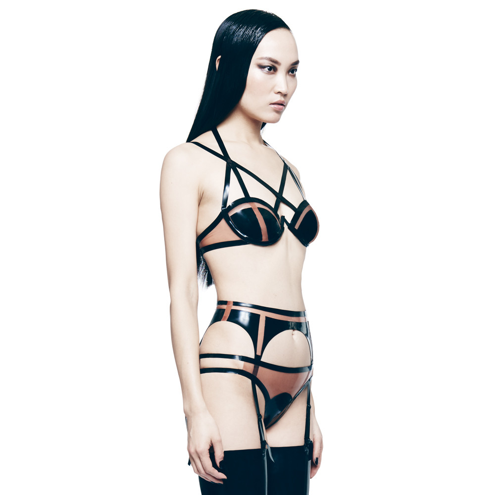 CHROMAT X TABLEAU VIVANTS Lunette latex bra, underwear & garter