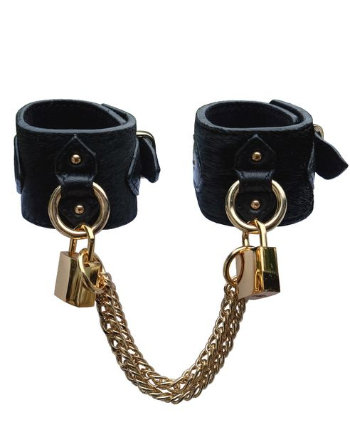pony leather cuffs with padlock