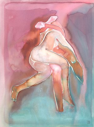 TINA MARIA ELENA - TINA CREATES WATERCOLOURS THAT BEAUTIFULLY CAPTURE THE RAW AND EROTIC INTIMACY OF LOVERS. HER PIECES ARE A BLUR OF PASSION AND VULNERABILITY.