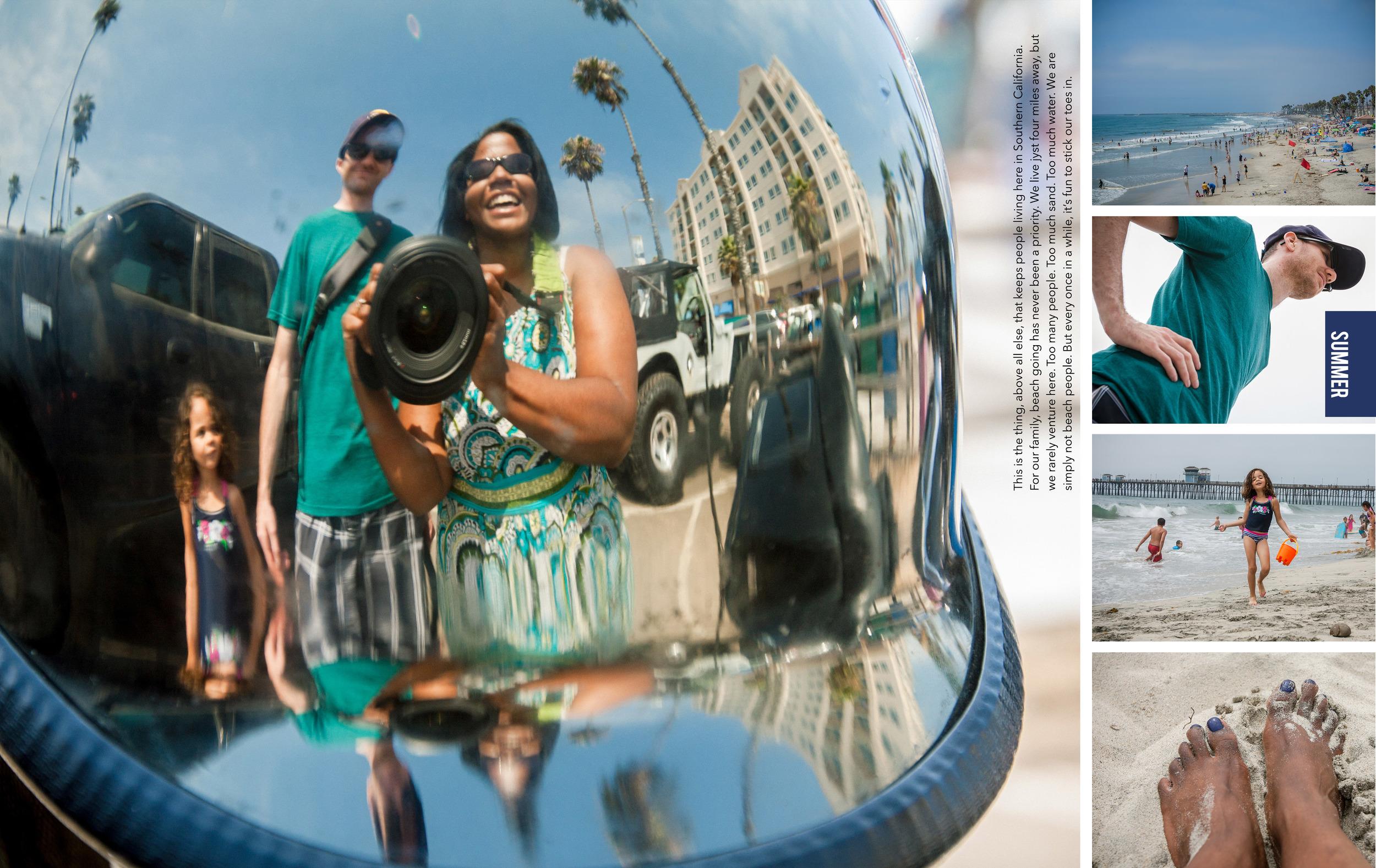 Oceanside CA beach photobook spread
