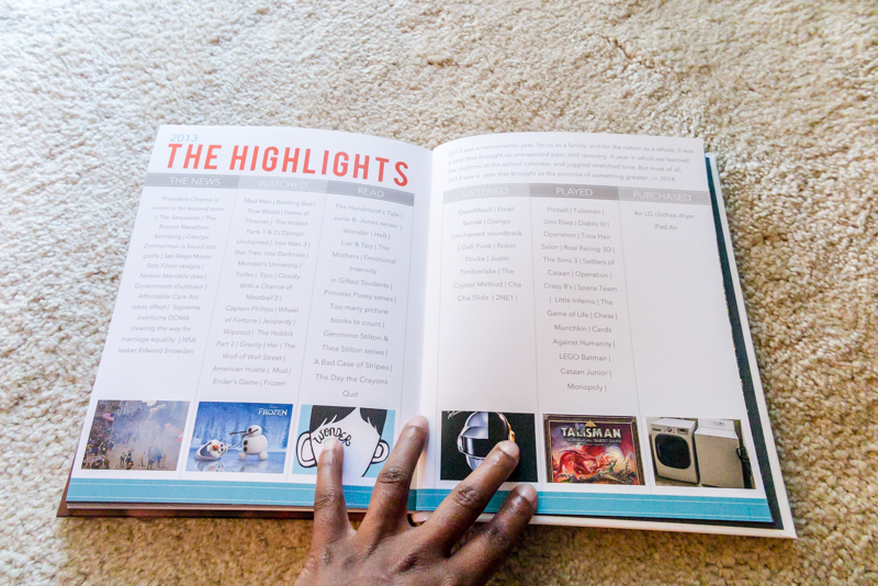 8x10 Blurb photo book | annual family album Highlights page | yolandamadethis.com