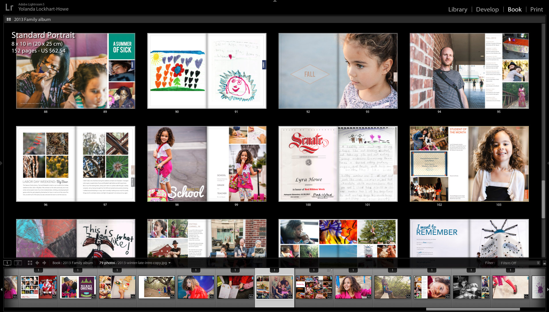 8x10 Blurb photo book | annual family album  page layouts in Lightroom | yolandamadethis.com