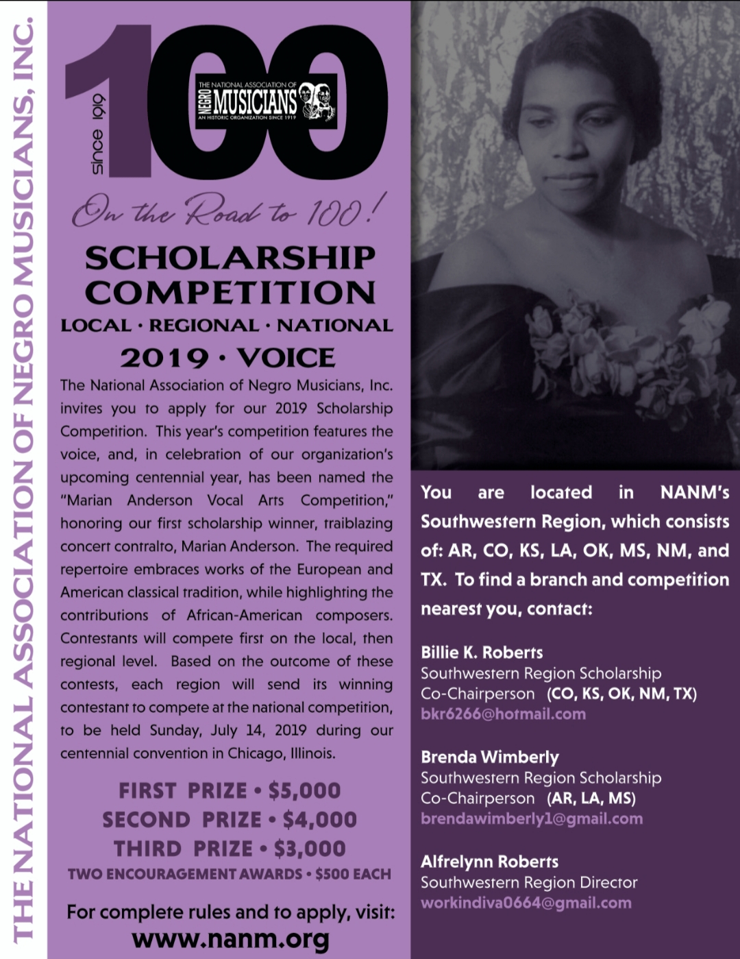 """It was in 1919 — 100 years ago — that a young, unknown classical singer won the first scholarship from the National Association of Negro Musicians, founded that same year. Marian Anderson went on to become one of the 20th century's most celebrated concert contraltos. She died in 1993 at age 96.  Now young musical hopefuls from the Dallas-Fort Worth area and throughout the Southwest can compete in association's centennial year for the same scholarship that Anderson won. The Marian Anderson Vocal Arts Competition will begin at the local level before advancing to regional and national rounds. Required repertoire includes works of American and European classical tradition and highlights the works of African-American composers.  This is the first year the competition is named in Anderson's honor. Winners will be announced July 14 at the centennial convention in Chicago. First-, second- and third-place prizes are $5,000, $4,000 and $3,000, respectively. Two """"encouragement"""" awards of $500 also will be given.  Applications, including a $50 fee, are due Feb. 8. Visit www.nanm.org to apply.  The Dallas Metroplex Musicians' Association promotes this area. To find a branch near you, contact local/regional co-chairs Billie Roberts at bkr6266@hotmail.com and Brenda Wimberly at brendawimberly1@gmail.com or call 214-808-4587 or 682-587-9646."""