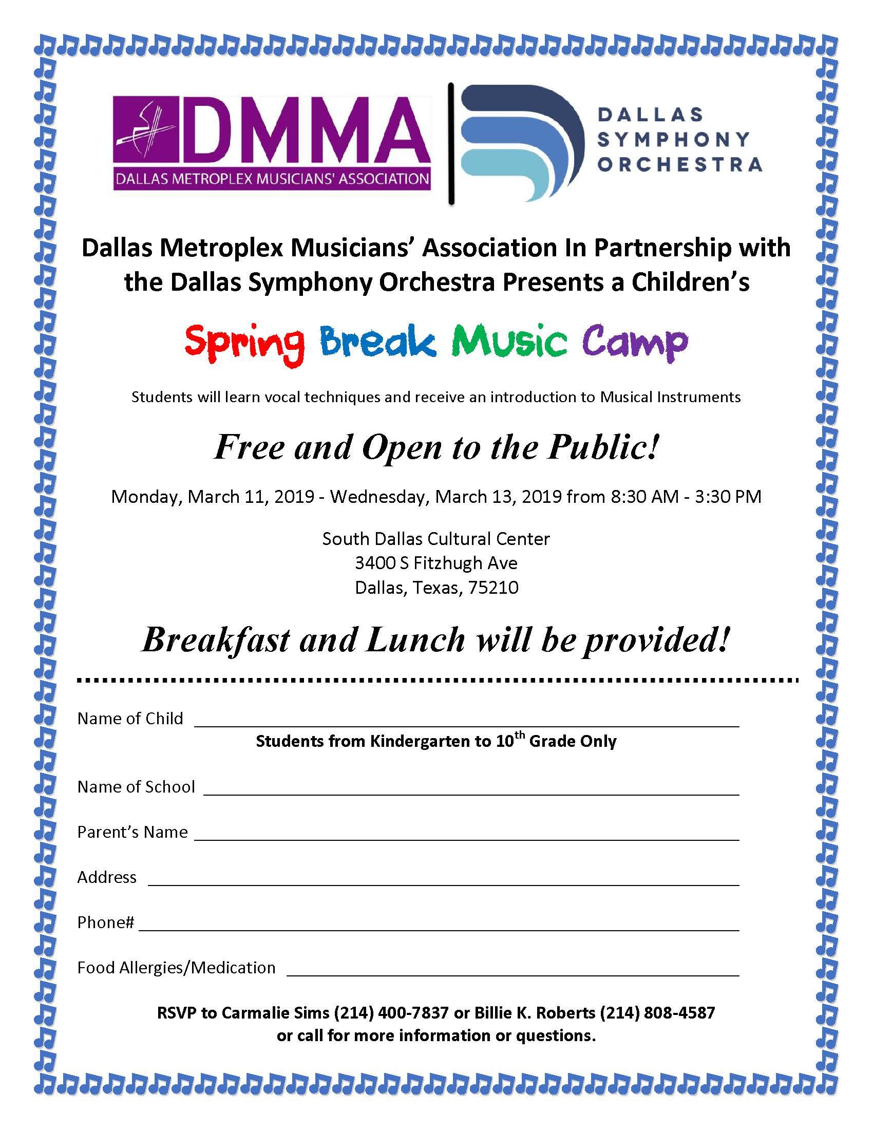 Spring Break Music Camp Registration Form