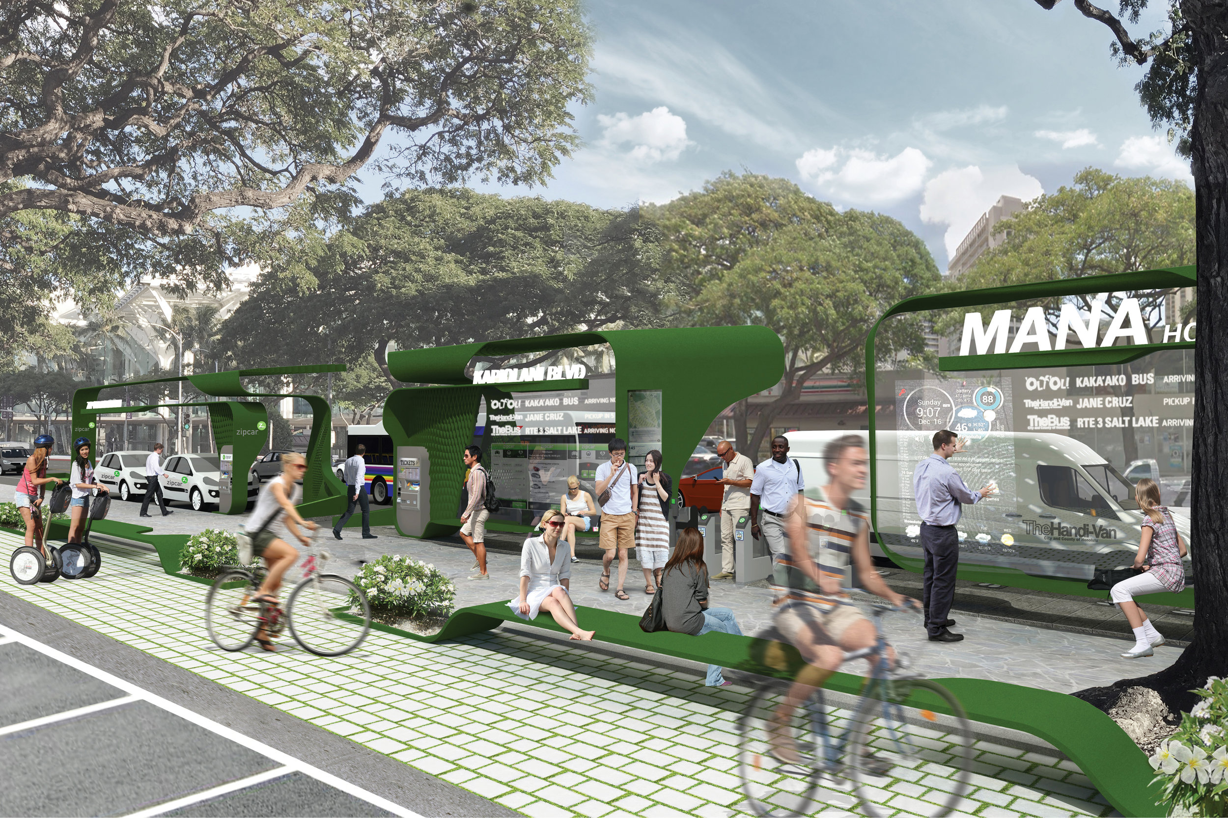 SELECTED FOR EXHIBITION: 'MANA Mobility Hub System'by Derrick Choi / Populous