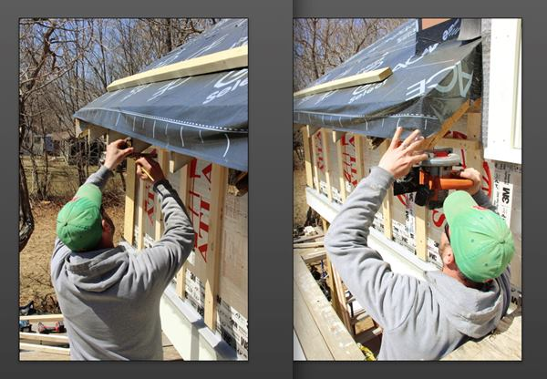 Fenton lays out a level line on the roof rafter endss (left) and makes the level cuts (right).
