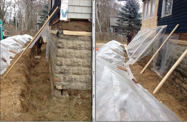 Snow, freezing rain, and frost are coming this month, so the crew has set up a temporary plastic shelter around the house perimeter to protect the foundation work.