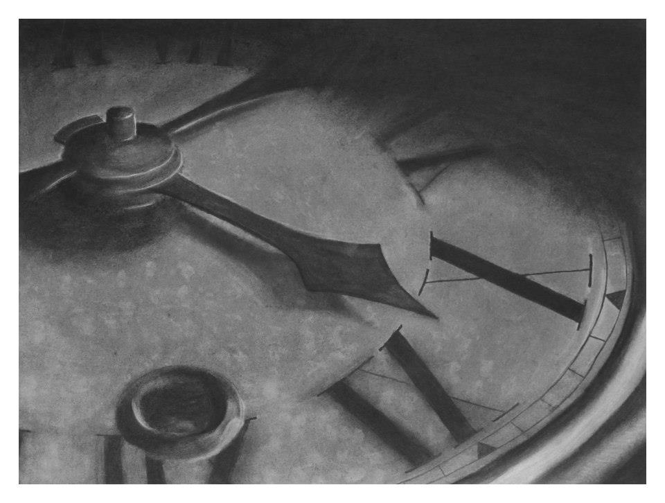 Clock by Cara Maib, Charcoal Illustration