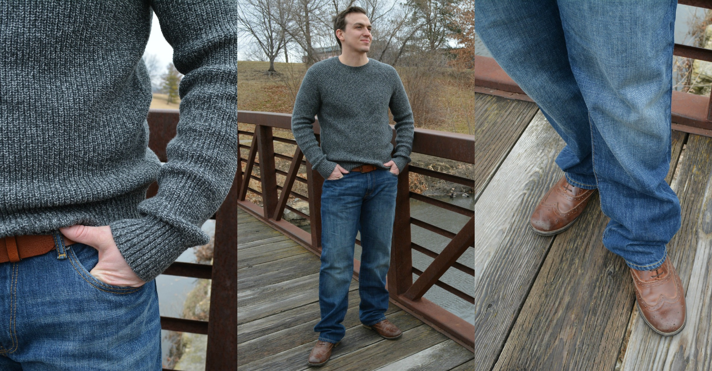 Gap at Town Center Plaza:    Marled Crewneck Sweater   ,    1969 Straight Fit Jeans, Belt   , and Shoes (Kevin's)