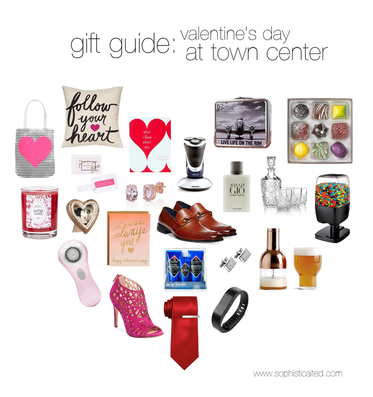 For Her:    Heart bag   ,    Follow your heart pillow   ,    What I love about you book   ,    Love Fortunes   ,    Lotsa Love candle   ,    Heart frame   ,    Helzberg studs   ,    It was always you card   ,    Clarisonic   ,    Pink Pumps     For Him:        Electric Razor   ,     Roasterie Gift Set   ,    Christopher Elbow chocolates  available at the Roasterie in Town Center Crossing  ,    Cologne   ,    Whisky set   ,    Candy machine   ,    Dress shoes   ,    Travel Set   ,    Cuff Links   ,    Beer foam remover   ,    Red tie   , and    Fit Bit