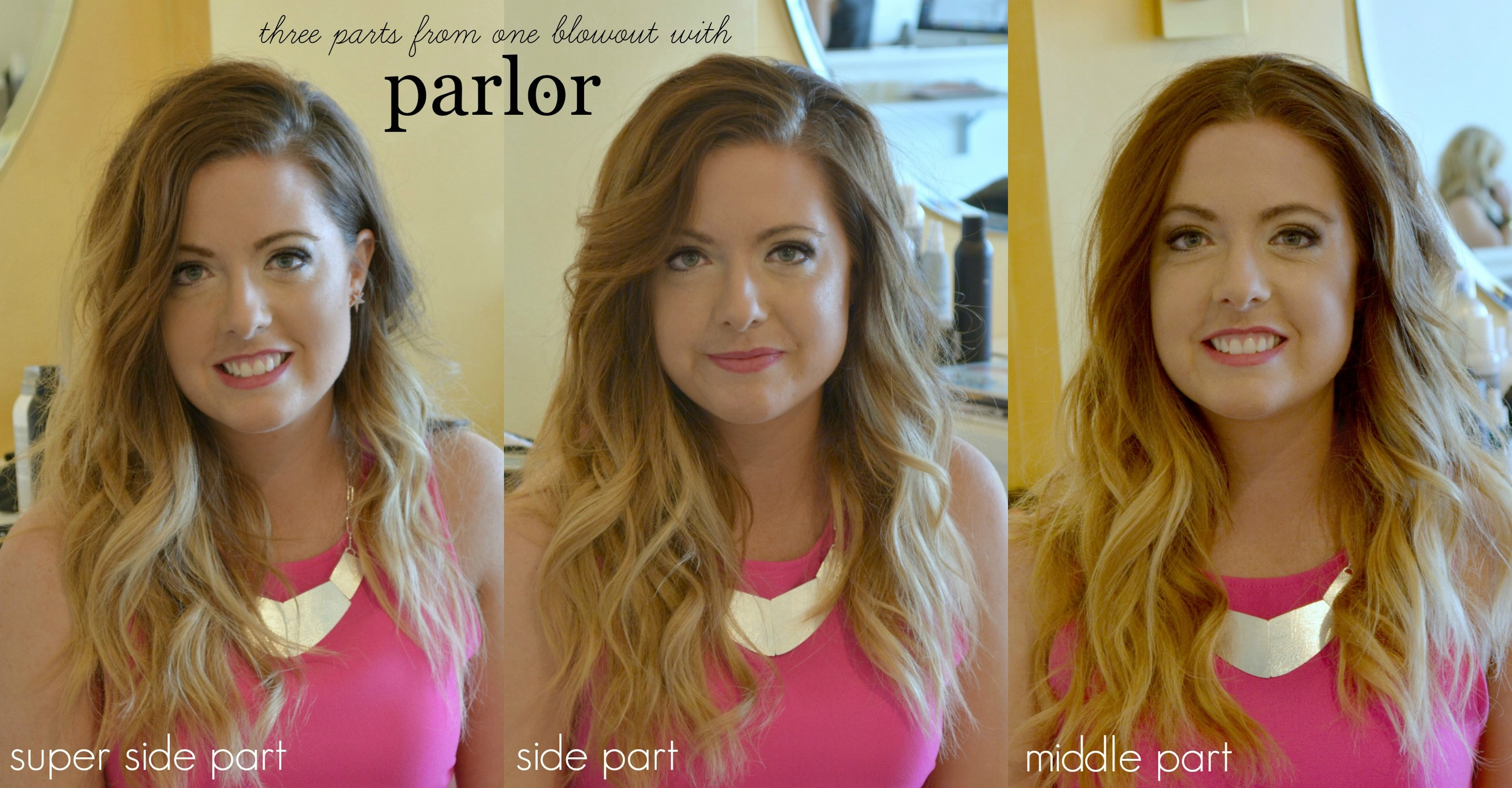 Okay you guys, I was completely impressed by the wonderful gals at    Parlor in Town Center Plaza   !  As you already know, but for reals. I was totally freaking out about the three styles they gave me - with only one blow out. If you've been here before you probably know that I usually wear my hair like the middle picture, just a easy side part and soft curl. So you can probably understand why I was so excited when they showed me how to curl my hair a new way (more on that tomorrow) and then how to style it two new ways!. They showed me how to do the super side part and I literally died of happiness! The inspiration was    Sienna Miller    from the Golden Globes and I feel like I want to wear my hair like this ALL of the time. So fun! And the middle part - I usual am pretty suspect of doing my hair like this, but I totally loved it! The curls fell in just the right places! So you need to make an appointment with them for your Valentine's day extravaganza!