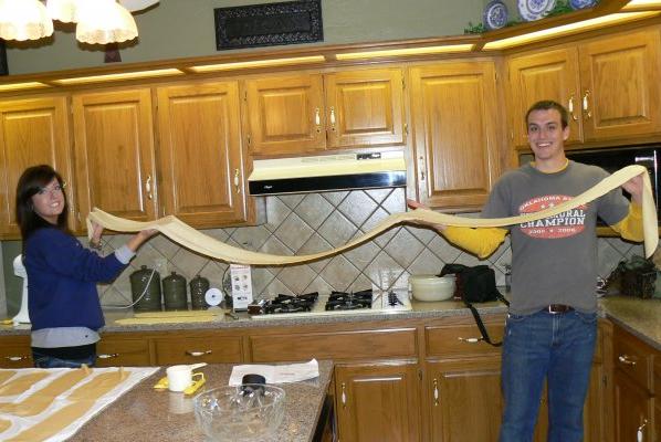 Making the longest egg noodle Ponca City, OK has ever scene, circa 2009.
