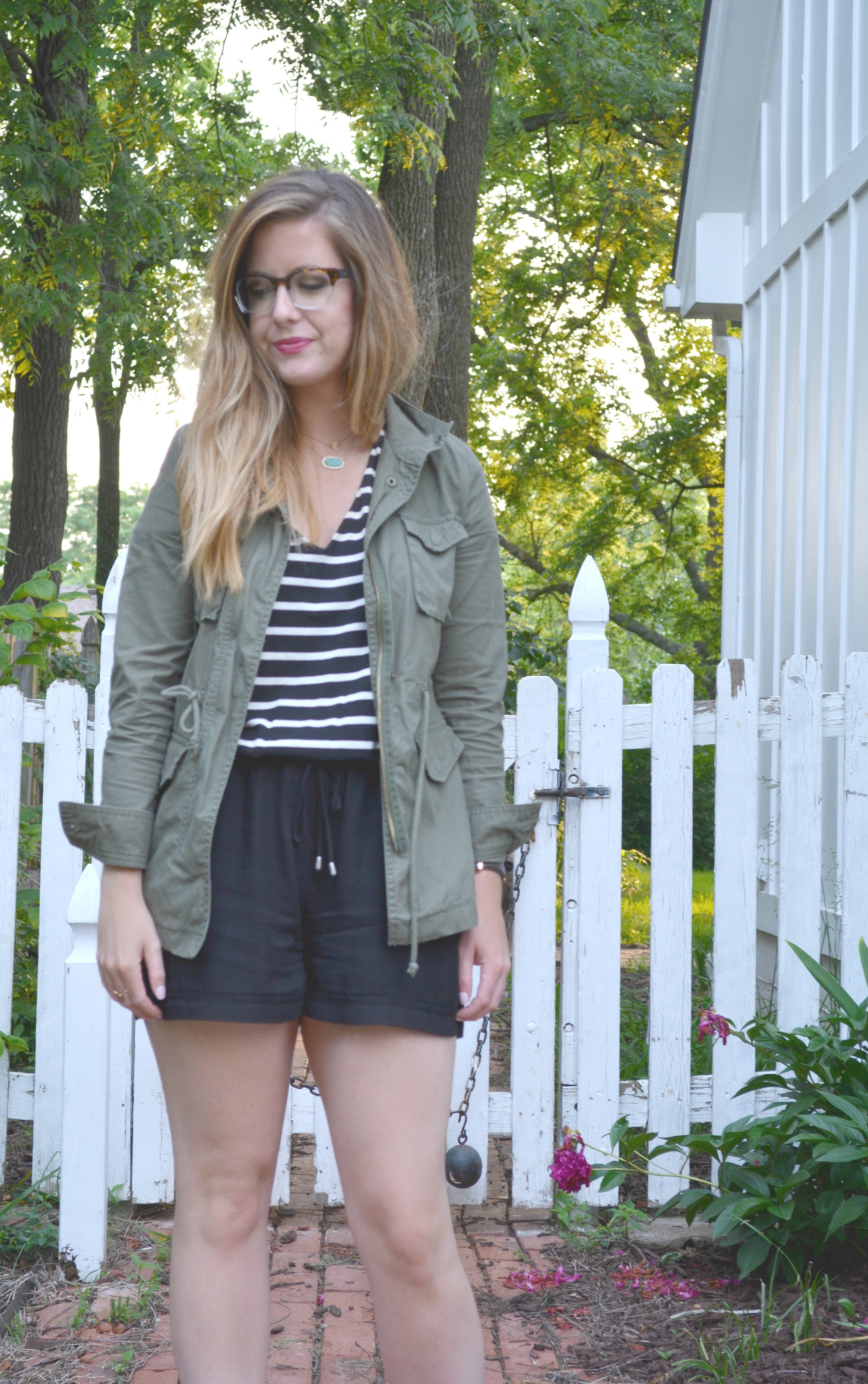 Polette eye glasses, green army jacket with stripe romper from Anthropologie on Sophisticaited.com