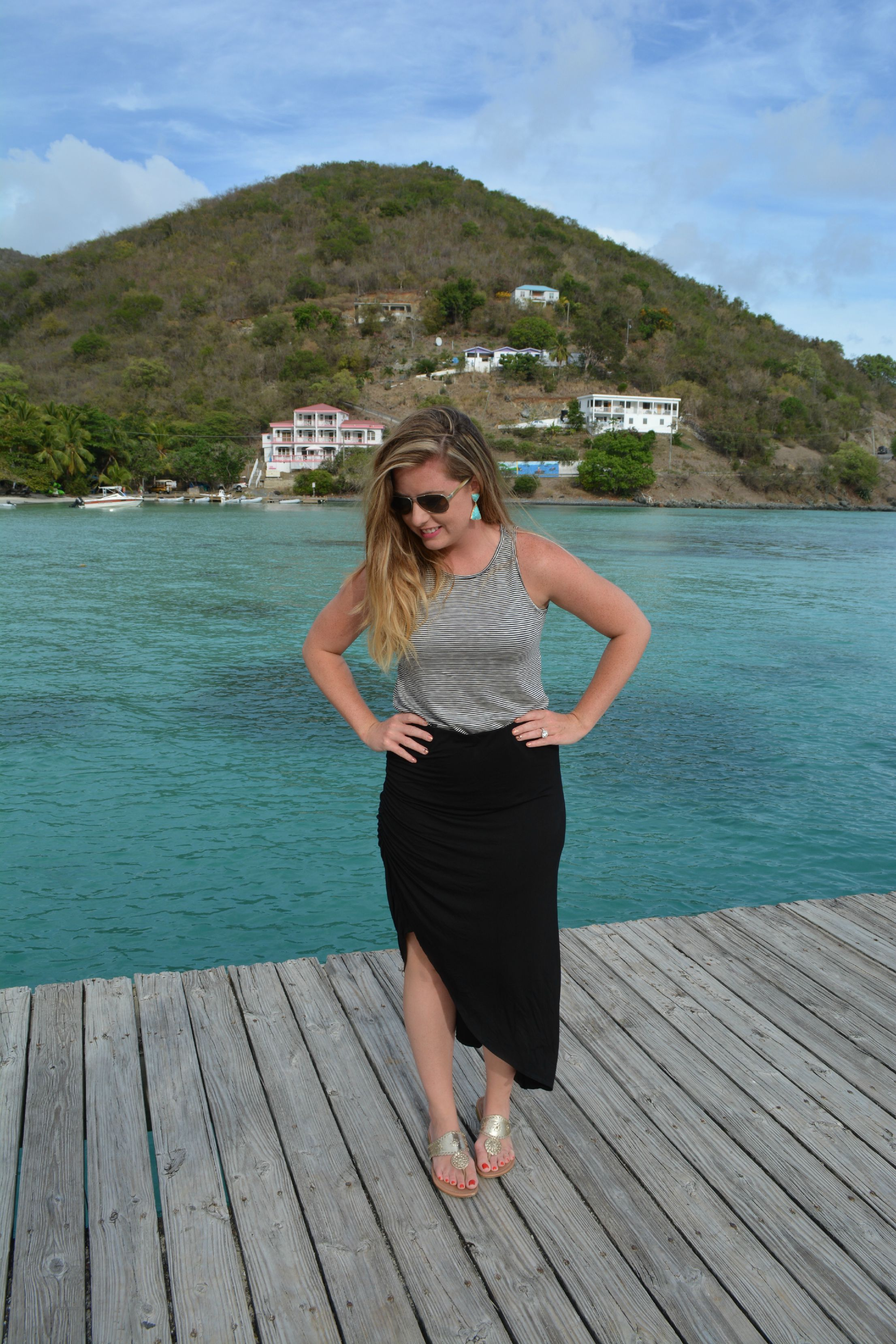 Gray tank with black skirt to wear on vacation on Sophisticaited.com