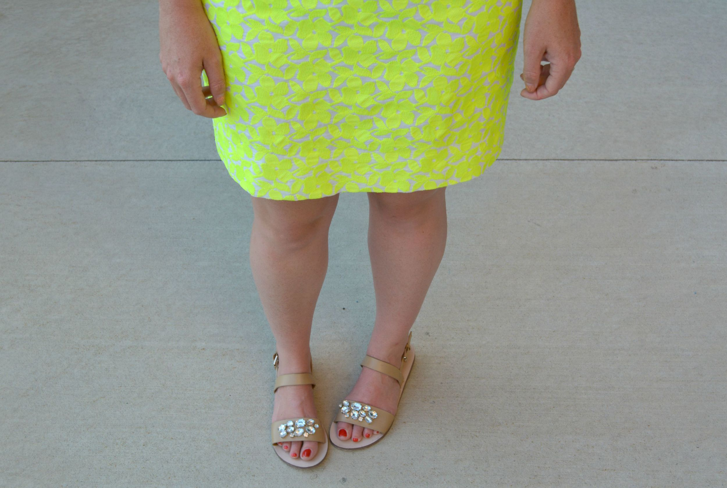 Bright skirt with jeweled sandals on Sophisticaited.com