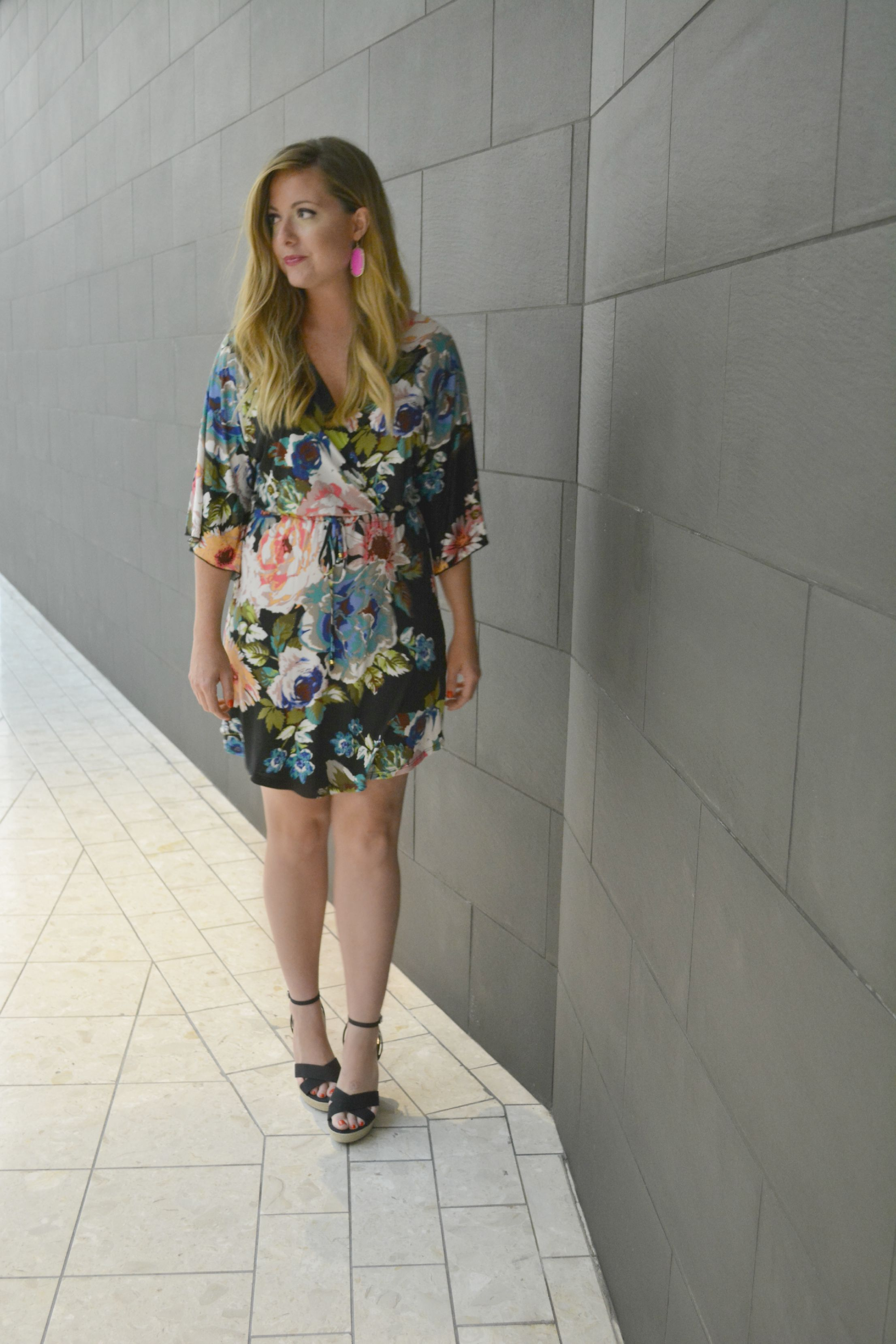 Kendra Scott 'Danielle' earrings giveaway and floral dress on Sophisticaited.com
